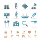 Road, navigation and travel icons. Icon set Royalty Free Stock Photo