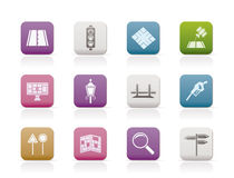Road, navigation and travel icons Royalty Free Stock Photography