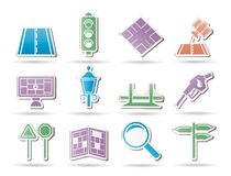 Road, navigation and travel icons. Icon set Stock Photo