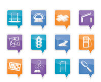 Road, navigation and travel icons. Vector icon set Royalty Free Stock Photos
