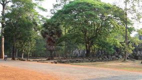 Road near Angkor Thom temple complex in Siem Reap, Cambodia stock video