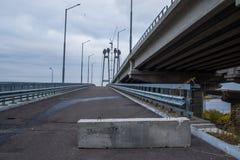 The road near the bridge. Gloomy overcast day Stock Photography