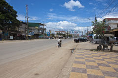 Road near the Cambodia-Thailand border. POI PET, CAMBODIA - JULY 13: Road near the Cambodia-Thailand border crossing on July 13, 2012 in Poi Pet, Cambodia. Poi stock photography