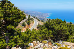 Road near Chora Sfakion town on Crete Royalty Free Stock Photo