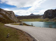 Road  near Lake Enol. Royalty Free Stock Photography
