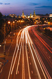 Road Near Moscow Kremlin. In the twilight royalty free stock photos