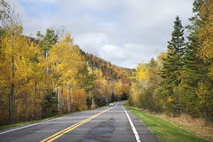Road near the North Shore of Minnesota with trees in fall color Stock Photography