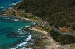 Road near an ocean. Narrow winding road near an ocean. Great Ocean Road. Australia royalty free stock photo