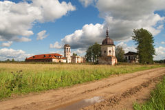 Road near ruins of medieval monastery Royalty Free Stock Image