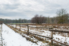Road near wooden fence and field Royalty Free Stock Photo