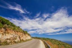 A road near Xigia sulphur springs on Zakynthos island Royalty Free Stock Photos