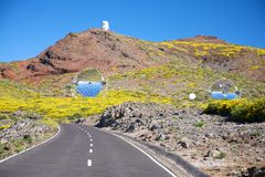 Road next observatories at La Palma Stock Photography
