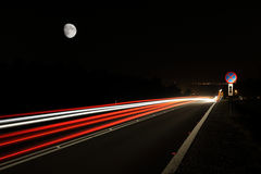 Road at night. Long exposure of a road by night stock photo