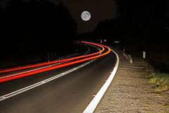 Road at night. Long exposure of a road by night stock image