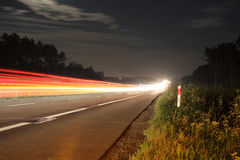 Road at night. Long exposure of a road by night royalty free stock images