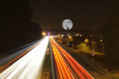 Road at night. Long exposure of a road by night royalty free stock photo