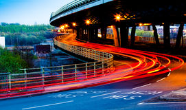 Road at Night. Roads at night showing blurred car lights at Tinsley viaduct Sheffield Royalty Free Stock Photo