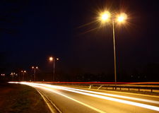 Road by night. A photo of road by night. Taken with a long exposure time Royalty Free Stock Photography
