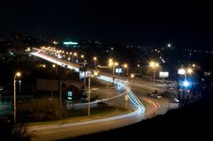Road of night city. Jam on a crossroads at night Stock Image