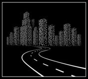 Road with night city. Royalty Free Stock Images