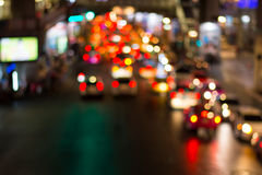 Road night light bokeh , defocused blur background Royalty Free Stock Photos