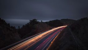 Road in the night with light trails - Azores Sao Miguel Portugal Royalty Free Stock Photography