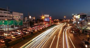 Speed light from the cars on highway. Stock Image