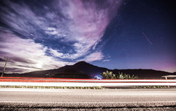 Road at night. Traffic road in the moon night Royalty Free Stock Photo