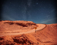 Road at night. Under the stars in the sky Royalty Free Stock Photos