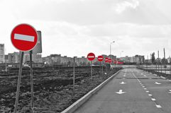 The road and no entry road signs Stock Photos