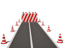 Road no way traffic cones 3d cg Royalty Free Stock Photography