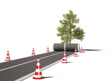 Road no way traffic cones 3d cg. For background or presentation and web design Stock Images