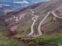 Road 52 in Northern Argentina winding through the mountains royalty free stock photos