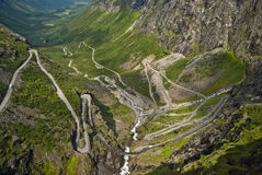 Road in Norway Trollstigen. A view of the mountains in Norway taken from Trollstigen Road. Hairpin road visible Stock Photography