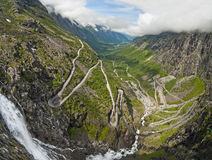 Road in Norway Trollstigen. A view of the mountains in Norway taken from Trollstigen Road. Hairpin road visible Stock Images