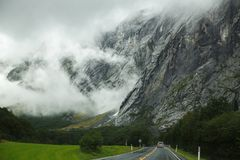 Road in Norway. Landscape with rocky mountains and road in Norway Royalty Free Stock Images