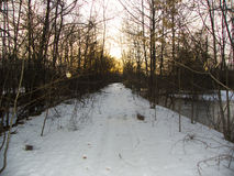 The road not taken. Trail at sunset in winter Stock Photo