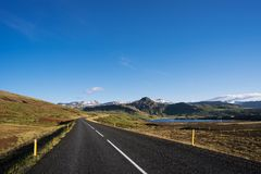 Road in Iceland with Mountain View Royalty Free Stock Image