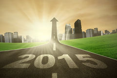 Road with number 2015 rise upward Stock Images