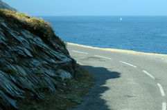 Road with ocean view Royalty Free Stock Image