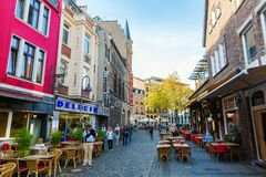 Road in the old town of Aachen, Germany royalty free stock image