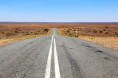 Road through the outback in Australia. A road disappearing into the distance in the desert lands of outback Australia Stock Photos