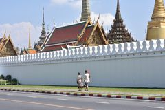 Road outside The Temple of Emerald Buddha Wat Phra Kaew a Temple of Buddhist in Bangkok, Thailand. stock photos