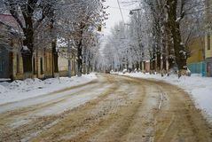The road on the outskirts of the blizzard. Stock Image