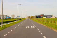 The road on the outskirts of Meerkerk, Netherlands Stock Images