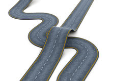 Road over each other on white background. 3d rendering Stock Images