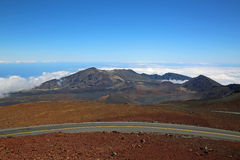 Road over Haleakala Crater Stock Photo