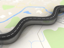 Road over map Royalty Free Stock Photos