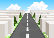 Road over maze Royalty Free Stock Image
