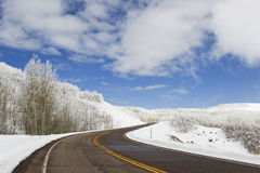 Road over mountain top,winter Stock Images